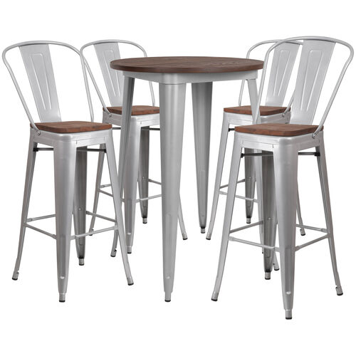 "30"" Round Silver Metal Bar Table Set with Wood Top and 4 Stools"