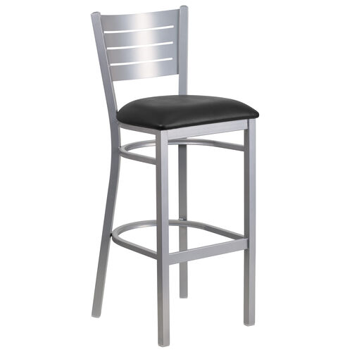 Our Silver Slat Back Metal Restaurant Barstool with Black Vinyl Seat is on sale now.