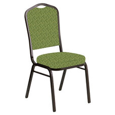 Embroidered Crown Back Banquet Chair in Optik Olive Fabric - Gold Vein Frame