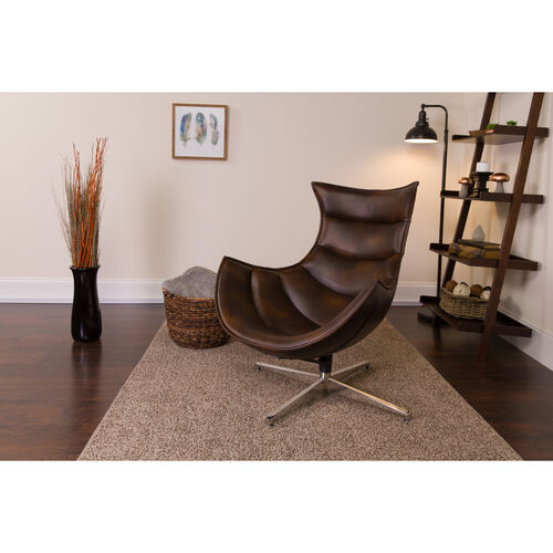 Our Bomber Jacket LeatherSoft Swivel Cocoon Chair is on sale now.
