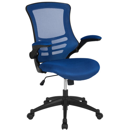 Our Mid-Back Blue Mesh Swivel Ergonomic Task Office Chair with Flip-Up Arms is on sale now.