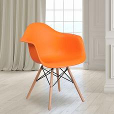 Alonza Series Orange Plastic Chair with Wooden Legs