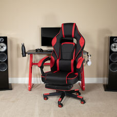 BlackArc Red Gaming Desk with Cup Holder/Headphone Hook & Red Reclining Back/Arms Gaming Chair with Footrest
