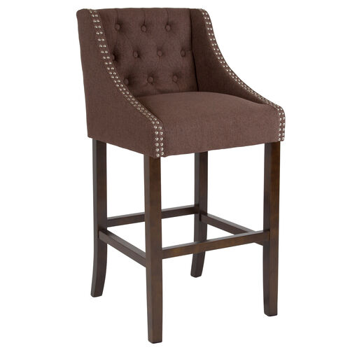 """Carmel Series 30"""" High Transitional Tufted Walnut Barstool with Accent Nail Trim in Brown Fabric"""