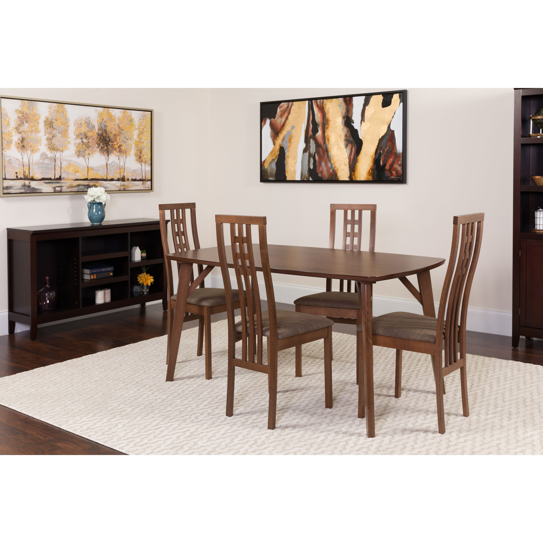 5pc walnut wood table set es 25 gg bizchair com