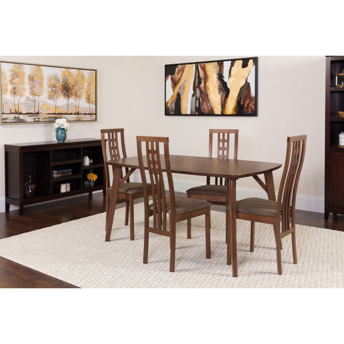 Our Halstead 5 Piece Walnut Wood Dining Table Set with High Triple Window Pane Back Wood Dining Chairs - Padded Seats is on sale now.