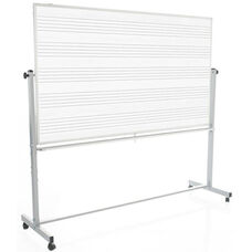 Doubled Sided Aluminum Frame Magnetic Mobile Whiteboard with Music Lines - 74.5