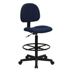 Navy Blue Patterned Fabric Drafting Chair (Cylinders: 22.5