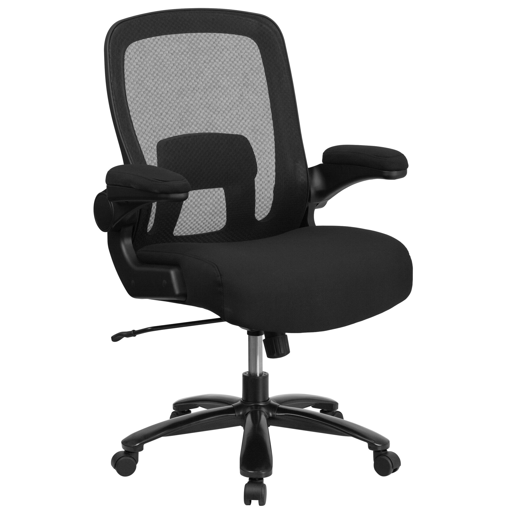 Tall Office Chair Black Mesh Executive Swivel With Lumbar And Back Support Wheels