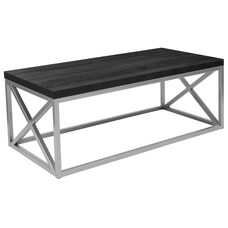Park Ridge Black Coffee Table with Silver Finish Frame