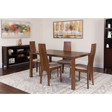 Lakeview 5 Piece Walnut Wood Dining Table Set with Padded Wood Dining Chairs