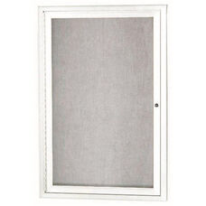 1 Door Outdoor Enclosed Bulletin Board with White Powder Coated Aluminum Frame - 36