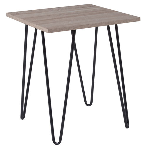 Our Oak Park Collection Driftwood Wood Grain Finish End Table with Black Metal Legs is on sale now.