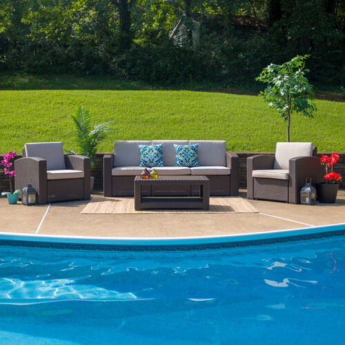 Our 4 Piece Outdoor Faux Rattan Chair, Sofa and Table Set in Chocolate Brown is on sale now.