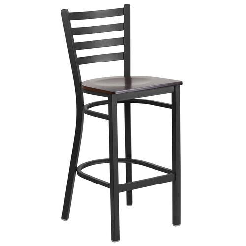 Our HERCULES Series Black Ladder Back Metal Restaurant Barstool - Walnut Wood Seat is on sale now.