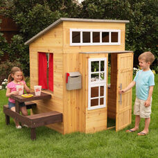 Weather Resistant Kids Size Modern Outdoor Playhouse with Picnic Table