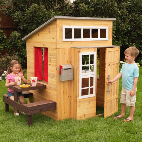 Our Weather Resistant Kids Size Modern Outdoor Playhouse with Picnic Table is on sale now.