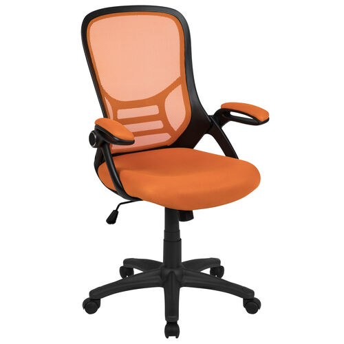 Our High Back Orange Mesh Ergonomic Swivel Office Chair with Black Frame and Flip-up Arms is on sale now.