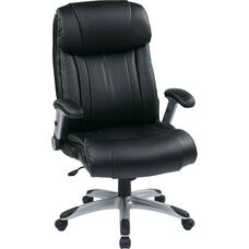 Work Smart Executive High Back Eco Leather Chair with Silver Coated Base - Black