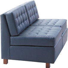 Quick Ship Himalaya Two-Seat Lounge Loveseat with Wood Legs
