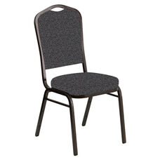 Embroidered Crown Back Banquet Chair in Ribbons Gray Fabric - Gold Vein Frame