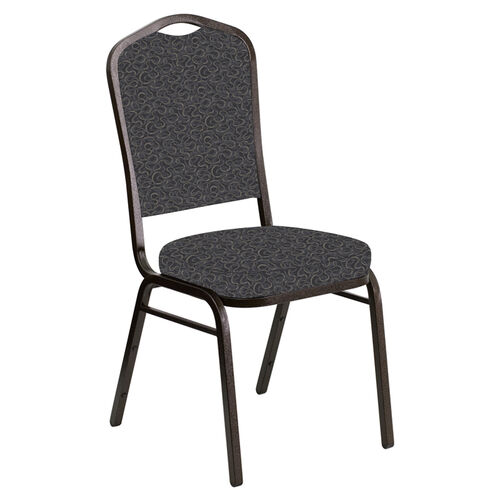 Our Embroidered Crown Back Banquet Chair in Ribbons Gray Fabric - Gold Vein Frame is on sale now.