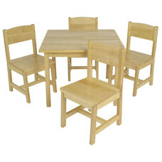 Farmhouse Five Piece Kids Solid Birch Wood Square Table and Four Matching Chairs - Natural