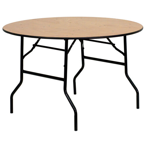 Our 4-Foot Round Wood Folding Banquet Table with Clear Coated Finished Top is on sale now.