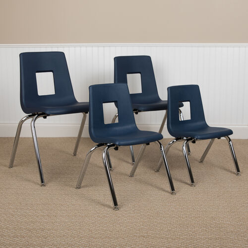 Advantage Navy Student Stack School Chair - 12-inch