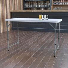 4-Foot Height Adjustable Bi-Fold Granite White Plastic Folding Table