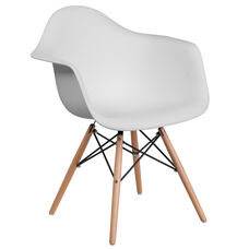 Alonza Series White Plastic Chair with Wooden Legs