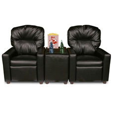 Kids 3 Piece Faux Leather Reclining Theater Seat Set - Black
