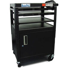 Black Height Adjustable AV Media Cart with Lockable One Door Security Cabinet and Three Pull-Out Shelves - 24