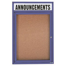1 Door Indoor Enclosed Bulletin Board with Header and Blue Powder Coated Aluminum Frame - 24
