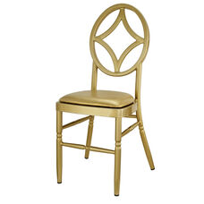 Velika Series Stackable Diamond Aluminum Dining Chair with Gold Vinyl Cushion - Set of 2 - Gold