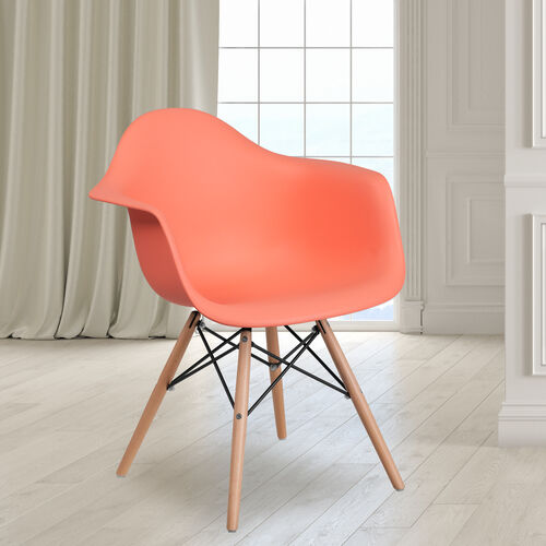 Alonza Series Peach Plastic Chair with Wooden Legs