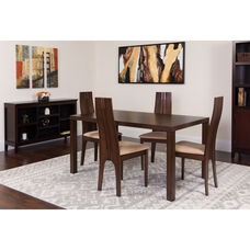 Lakeview 5 Piece Espresso Wood Dining Table Set with Padded Wood Dining Chairs