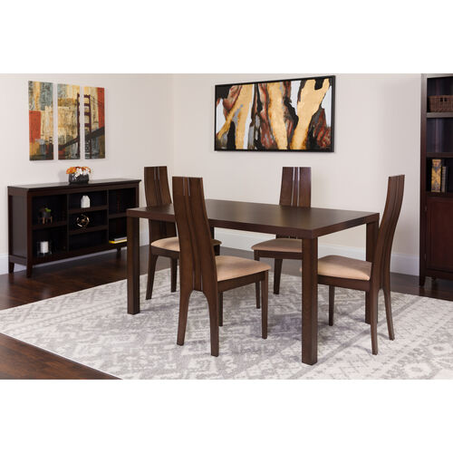Our Lakeview 5 Piece Espresso Wood Dining Table Set with Padded Wood Dining Chairs is on sale now.