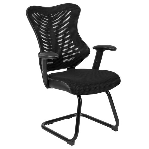 Our Designer Black Mesh Sled Base Side Reception Chair with Adjustable Arms is on sale now.