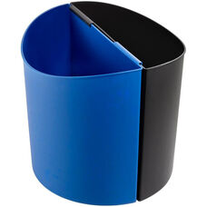 17.5'' W x 9.5'' D x 16.5'' H Large 7 Gallon Dual Desk side Recycling Receptacle - Black and Blue