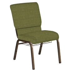 Embroidered 18.5''W Church Chair in Highlands Verdigris Fabric with Book Rack - Gold Vein Frame