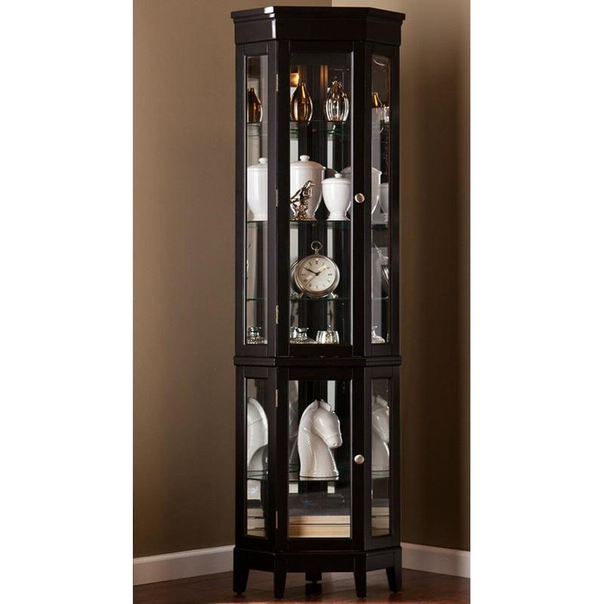 Our essex wood corner 21 25w x 70h curio cabinet with