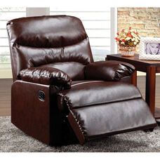 Arcadia Transitional Style Bonded Leather Recliner with Hand Latch - Cracked Brown