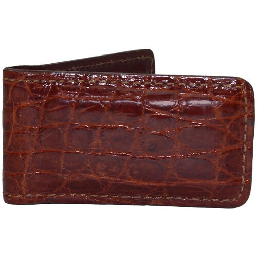 Our Luxury Magnetic Money Clip Wallet - Genuine Crocodile Skin Leather - Cognac is on sale now.