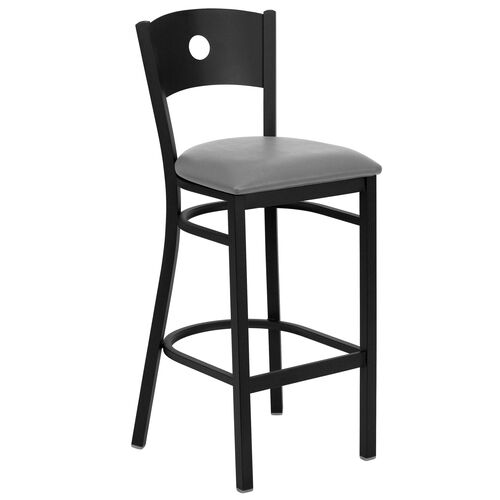 Our Black Circle Back Metal Restaurant Barstool with Custom Upholstered Seat is on sale now.