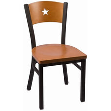 Liberty Series Wood Back Armless Chair with Steel Frame and Wood Seat - Cherry