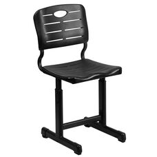 Adjustable Height Black Student Chair with Black Pedestal Frame