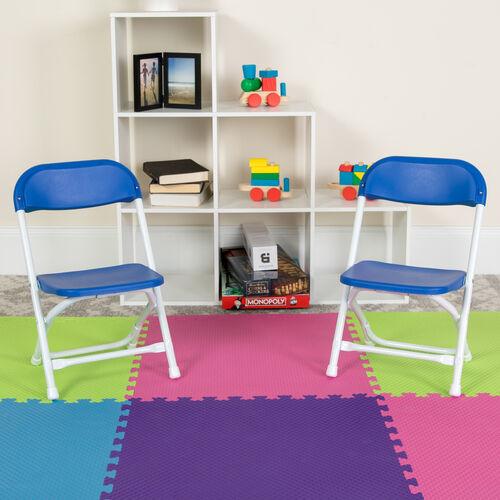 Kids Blue Plastic Folding Chair