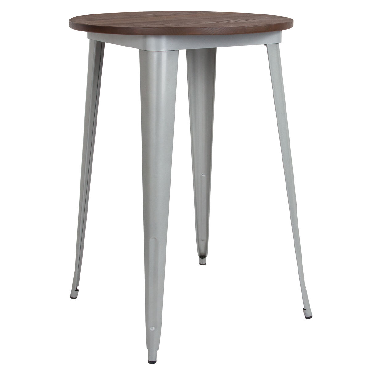 Our 30 Round Silver Metal Indoor Bar Height Table With Walnut Rustic Wood Top Is