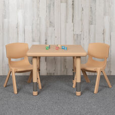 """24"""" Square Natural Plastic Height Adjustable Activity Table Set with 2 Chairs"""